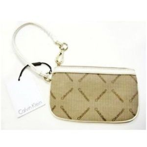 Calvin Klein Wristlet Wallet Canvas Tan White NEW